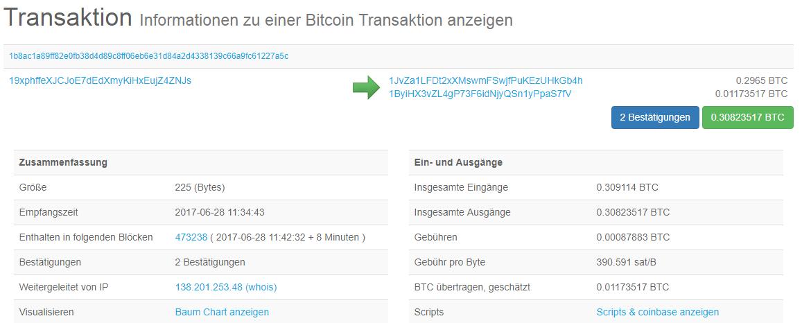 Bitcoin Transaktion anzeigen