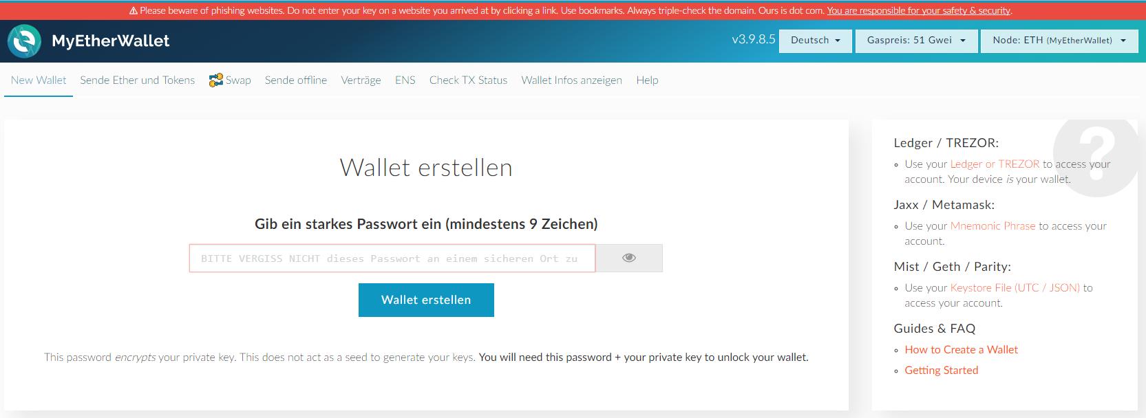 MyEtherWallet mit ERC20 Token z.B. TenX PAY verwenden