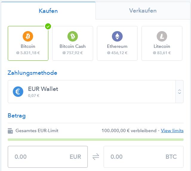 Bitcoins kaufen auf Coinbase