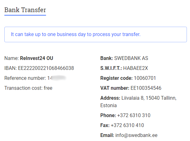 reinvest24 Bankverbindung