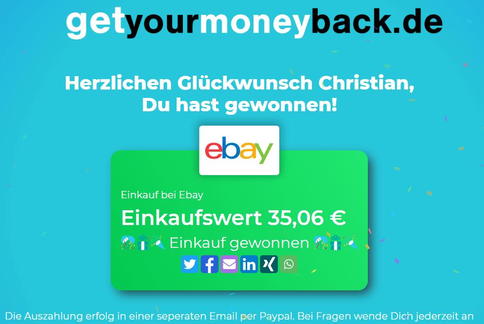 Getyourmoneyback Erfahrung mit dem Cashback Programm